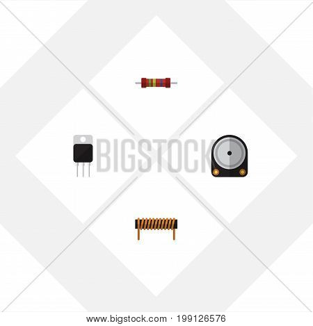 Flat Icon Technology Set Of Receiver, Bobbin, Resistance And Other Vector Objects