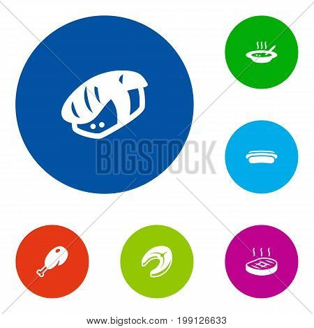 Collection Of Beefsteak, Fried Poultry, Broth And Other Elements.  Set Of 6 Food Icons Set.