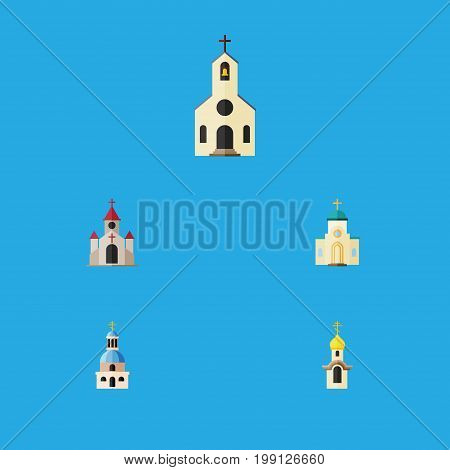 Flat Icon Building Set Of Traditional, Religious, Building And Other Vector Objects