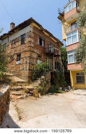 ALANYA TURKEY - JULY 09 2015: An old house in a mountainous part of the city. Alanya - a popular holiday destination for European tourists.