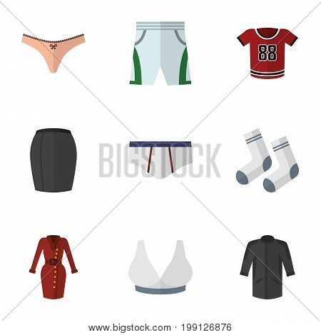 Flat Icon Garment Set Of Clothes, Foot Textile, T-Shirt And Other Vector Objects
