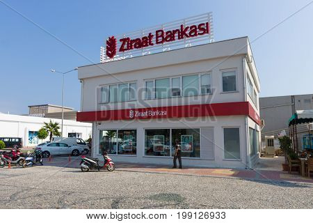 KONAKLI TURKEY - JULY 10 2015: Branch bank Ziraat Bankasi. Ziraat Bankasi (Agricultural Bank of the Republic of Turkey) is a state-owned bank in Turkey founded in 1863.
