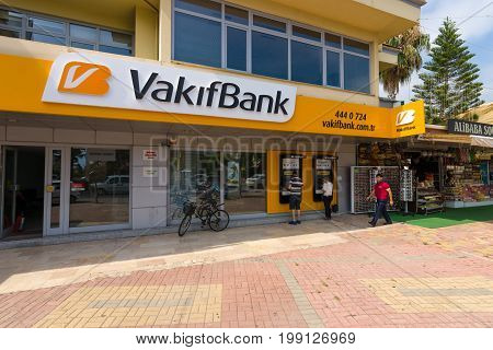 KONAKLI TURKEY - JULY 10 2015: Bank branch VakıfBank. VakıfBank is the fifth largest bank in Turkey
