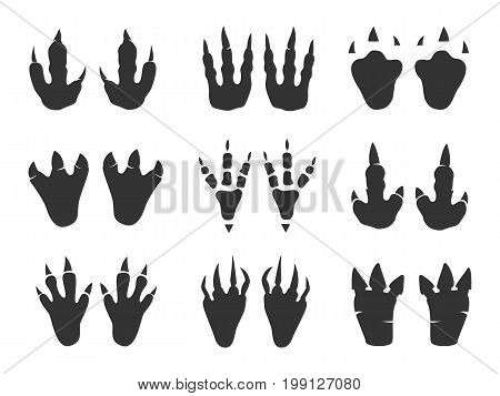Dinosaur print set. Foot picture left by gigantic animal, largest paleontologists sign. Vector flat style cartoon illustration, isolated, white background