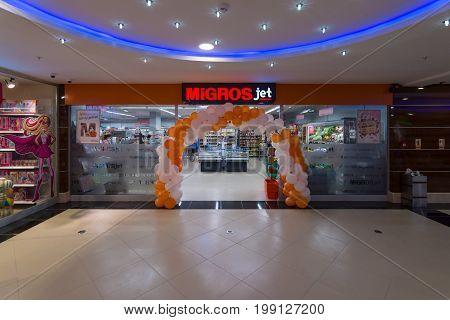 KONAKLI TURKEY - JULY 10 2015: A supermarket Migros. Ramstore - Migros Turk Ticaret A.S. is one of the biggest chains of supermarkets in Turkey.