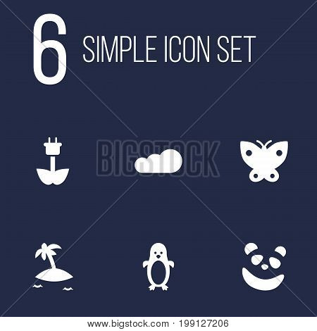 Collection Of Green Power, Overcast, Moth And Other Elements.  Set Of 6 Bio Icons Set.