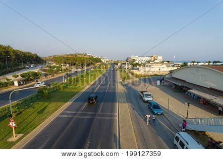 AVSALLAR TURKEY - JULY 10 2015: Highway between Antalya and Alanya. Anatolian coast - a popular holiday destination for European tourists.