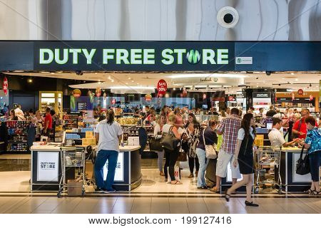 ANTALYA TURKEY - JULY 11 2015: Duty Free Store at the international airport of Antalya. Antalya is the largest Turkish city on the Mediterranean coast.