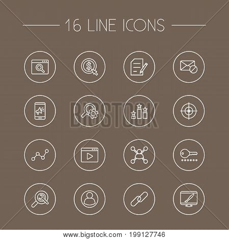 Collection Of Cost Per, Copyright, Block And Other Elements.  Set Of 16 Optimization Outline Icons Set.