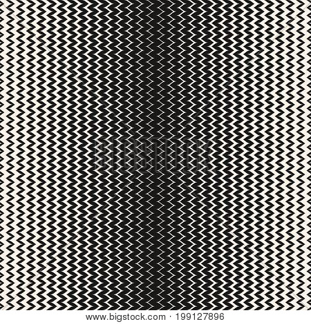 Halftone background. Abstract modern geometric seamless pattern with wavy zigzag lines. Black & white vertical zig zag stripes. Gradient transition effect. Stylish monochrome chevron texture. Halftone pattern, zigzag pattern, design pattern.
