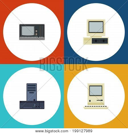 Flat Icon Computer Set Of Vintage Hardware, Computer, Computing And Other Vector Objects
