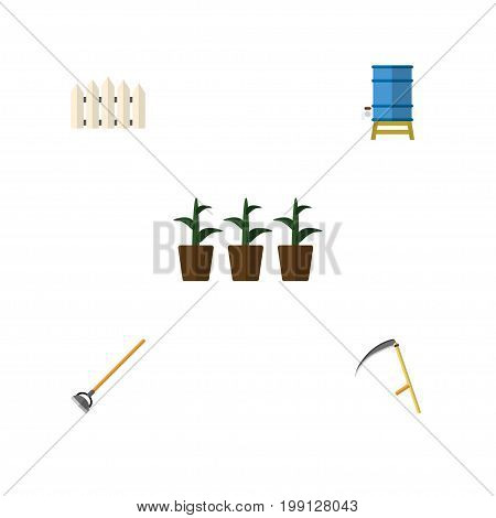 Flat Icon Dacha Set Of Flowerpot, Container, Wooden Barrier And Other Vector Objects