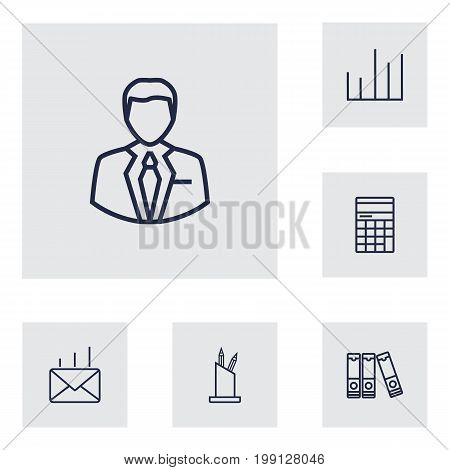 Collection Of Pen Storage, Post, Document Case And Other Elements.  Set Of 6 Bureau Outline Icons Set.