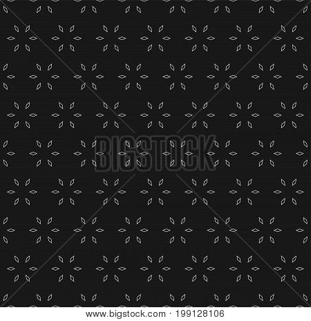 Subtle geometric background. Vector seamless pattern with small linear rhombuses geometrical floral shapes. Abstract minimalist texture. Dark modern design for decoration, invitations, digital, web.