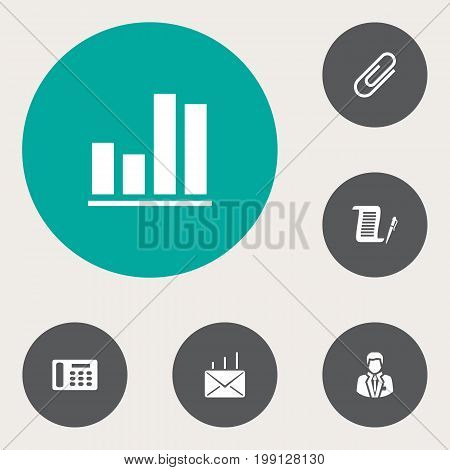 Collection Of Mail, Diagram, Clip And Other Elements.  Set Of 6 Work Icons Set.