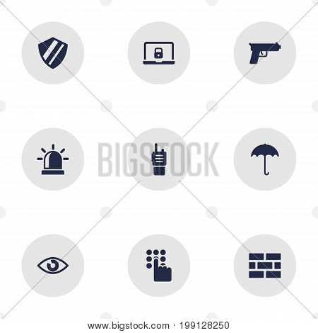 Collection Of Shot, Protection, Remote And Other Elements.  Set Of 9 Security Icons Set.