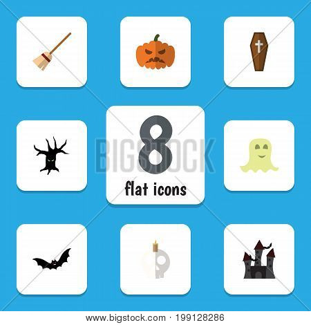 Flat Icon Halloween Set Of Spirit, Cranium, Pumpkin And Other Vector Objects