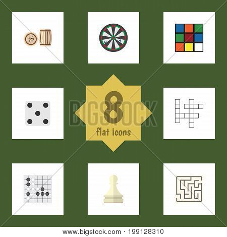 Flat Icon Games Set Of Gomoku, Pawn, Backgammon And Other Vector Objects