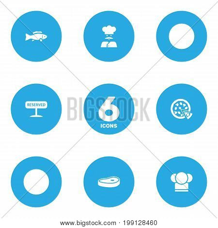 Collection Of Tuna, Chef, Registered And Other Elements.  Set Of 6 Bar Icons Set.