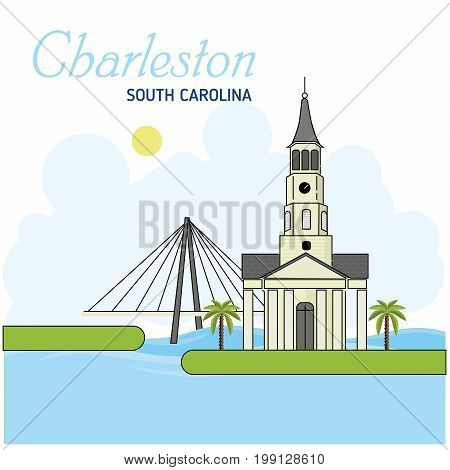 Charleston. South carolina. Vector Illustration. Business Travel and Tourism Concept with Modern Buildings. Image for Presentation Banner Placard