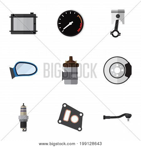 Flat Icon Component Set Of Spare Parts, Gasket, Heater And Other Vector Objects