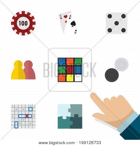 Flat Icon Play Set Of Ace, People, Cube And Other Vector Objects