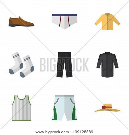 Flat Icon Dress Set Of Male Footware, Pants, Trunks Cloth And Other Vector Objects