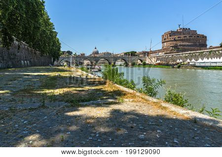 ROME, ITALY - JUNE 22, 2017: Amazing view of St. Angelo Bridge,  Tiber River and castle st. Angelo in city of Rome, Italy