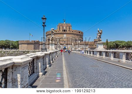 ROME, ITALY - JUNE 22, 2017: Amazing view of St. Angelo Bridge and castle st. Angelo in city of Rome, Italy