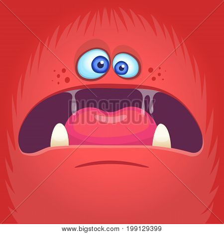 Scary cartoon angry monster face avatar. Halloween vector illustration of monster mask. Isolated