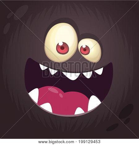 Cool cartoon black monster face. Halloween vector illustration