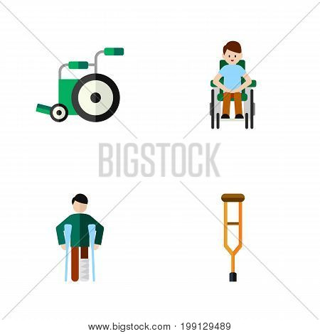 Flat Icon Handicapped Set Of Stand, Equipment, Disabled Person Vector Objects