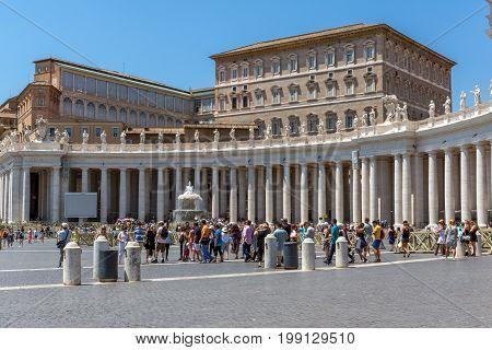 VATICAN CITY, ROME, ITALY - JUNE 22, 2017: Amazing view of St. Peter's Basilica and Saint Peter's Square, Vatican City, Rome, Italy