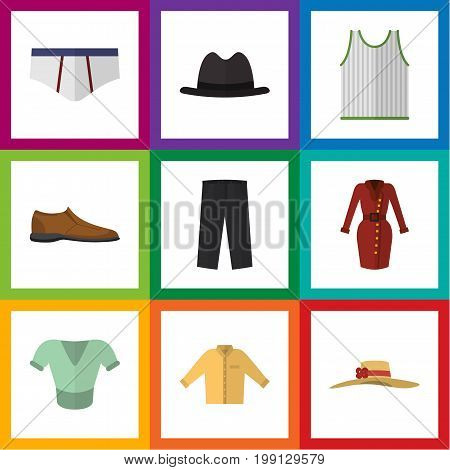 Flat Icon Clothes Set Of Singlet, Underclothes, Male Footware And Other Vector Objects