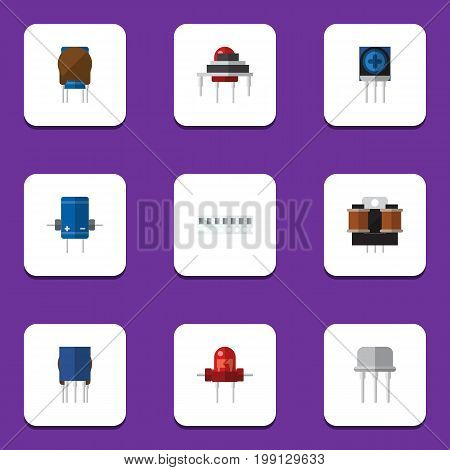 Flat Icon Technology Set Of Coil Copper, Resist, Recipient And Other Vector Objects