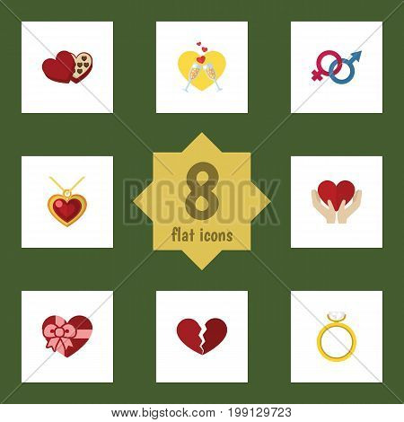 Flat Icon Love Set Of Engagement, Sexuality Symbol, Divorce And Other Vector Objects