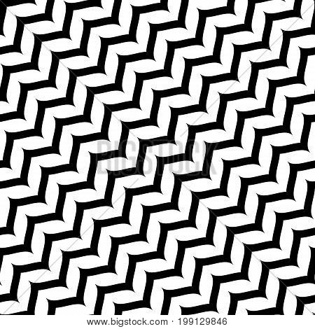 Herringbone pattern. Black & white diagonal smooth zig zag wavy lines. Simple striped monochrome texture. Abstract repeat background. Design element for prints, decoration, textile, digital, web.