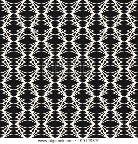 Ornamental pattern, lace, texture, tissue, weave. Delicate background with thin curved lines. Abstract monochrome ornate illustration, repeat tiles. Dark design for decor, fabric, cloth, package.