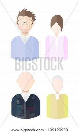 Flat vector characters set. Young and mature impersonal men and women avatars