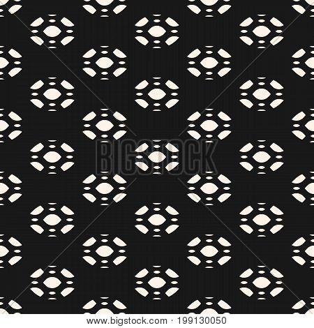 Subtle abstract geometric background. Vector seamless pattern. Elegant monochrome ornament texture with rounded figures. Dark design element for prints, decor, textile, fabric, package, digital, web.