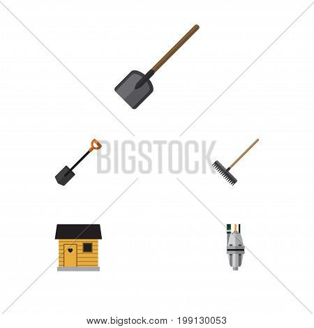 Flat Icon Dacha Set Of Spade, Shovel, Pump And Other Vector Objects