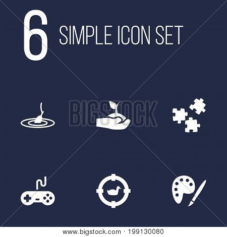 Collection Of Joystick, Jigsaw, Rod And Other Elements.  Set Of 6 Entertainment Icons Set.