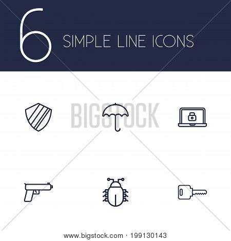Collection Of Parasol, Weapon, Lock And Other Elements.  Set Of 6 Safety Outline Icons Set.