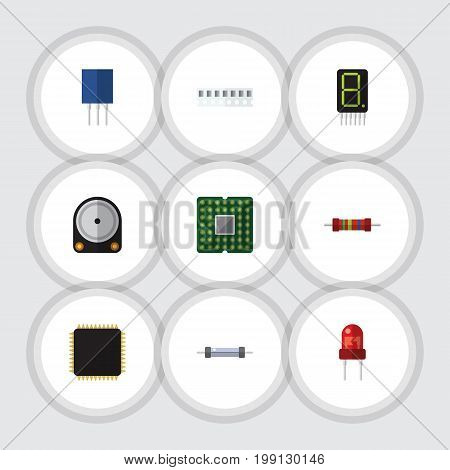 Flat Icon Device Set Of Cpu, Display, Resistance And Other Vector Objects