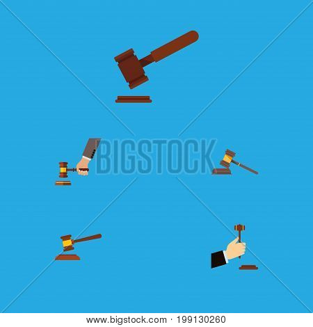 Flat Icon Hammer Set Of Crime, Law, Court And Other Vector Objects