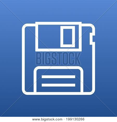 Vector Floppy Element In Trendy Style.  Isolated Diskette Outline Symbol On Clean Background.