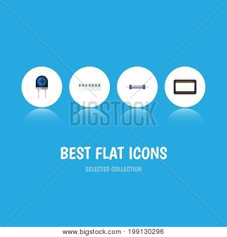 Flat Icon Electronics Set Of Transducer, Memory, Mainframe And Other Vector Objects