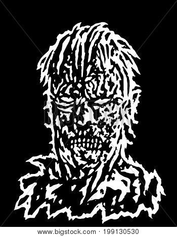 Danger and addle zombie head. Vector illustration. Black and white colors. The horror genre. Scary character face.