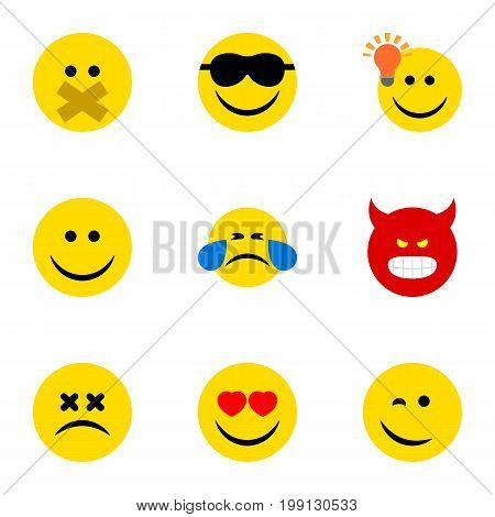 Flat Icon Gesture Set Of Joy, Cross-Eyed Face, Cold Sweat And Other Vector Objects