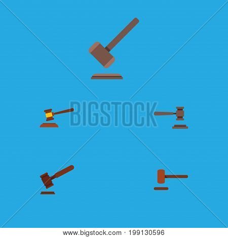 Flat Icon Court Set Of Tribunal, Justice, Legal And Other Vector Objects